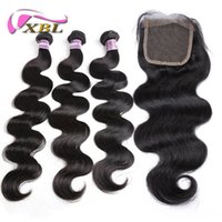Wholesale brazilian cuticle hair - xblhair cuticle aligned hair straight and body wave human hair bundles with 4by4 top lace closure