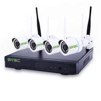 sistema de vigilancia de canales al por mayor-720p 4-channel 1MP WiFi NVR red grabadora de video de seguridad set 4ch ip basado sistema de vigilancia inteligente para el hogar