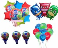 mascara inflable al por mayor-24 unids / lote pj máscaras globos de helio globos de fiesta de cumpleaños de la fiesta de cumpleaños de los globos de helio inflable decoración suministros niños juguete