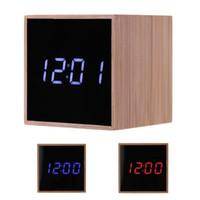 мультидисплейные часы оптовых-Wood Bamboo Multi-Function LED Alarm Clock Temperature Sounds Control LED Display Desktop Digital Table Clocks