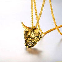 männer hängendes horn großhandel-U7 Evil Devil Damon Horn Anhänger Halskette Gold / Schwarz Edelstahl Gothic Punk Style Devil Horn Halskette Für Männer GP2833