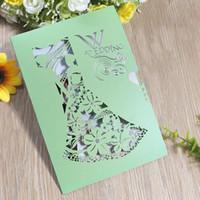 свадебные приглашения зеленые оптовых-Зеленый свадебные приглашения карты высокого уровня романтическая оригинальность приглашение для любителей жениться многофункциональные поздравительные открытки горячей продажи 0 98cf Z