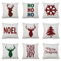 Wholesale pillow case art resale online - Christmas Pillow Case Cushion Covers Xmas Tree Snowflakes Reindeer Elk Plaids Art Cushion Cover Sofa Car Decor Linen Pillow Case WX9