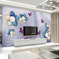 Wholesale Luxury Classic European Living Room - Customized seamless mural luxury European silk diamonds pearl flower wallpaper bedroom living room TV background wallpaper