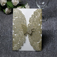 Wholesale cutting paper for wedding invitation for sale - 10pcs Glitter Paper Laser Cut Butterfly Invitations Cards Kits for Wedding Bridal Shower Birthday wedding invitations cards