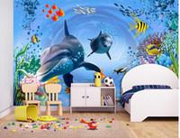 muralas subaquáticas 3d para paredes venda por atacado-Mural de parede foto papel de parede 3D Underwater World Aquarium infantil quarto fundo parede pintura