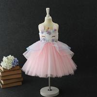 Wholesale Childrens Dressing Gowns - 2018 Summer Fashion unicorn Girls Dresses floral Childrens Princess Dresses cute birthday kids Party Dress wedding dress Pettiskirt A1621