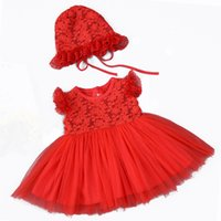 Wholesale occasion dresses for kids online - Hot Lace Flower Children Girls Dress for Wedding and Party Baby Christening Tulle Dresses Kids Year Birthday Occasion Costume