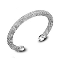 Wholesale imports europe - South Korea imported bracelets fashionable silver plated hollow woven mesh bracelet wholesale jewelry in Europe and America Z05