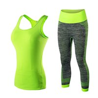 Wholesale female tights - Quick Dry sportswear Gym Leggings Female T-shirt Costume Fitness Tights Sport Suit Green Top Yoga Set Women's Tracksuit