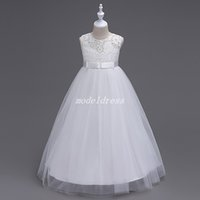 Wholesale wedding dresses lace bow for sale - Hot Sale Ball Gown Flower Girl Dresses Jewel Sash Bow Lace Top Cheap Girls Pageant Dress Child Birthday Party Gowns First Communion Dress