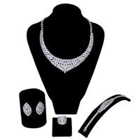 18k gelbgold saphir halskette großhandel-Die neuen Ankunft Luxuxfrauen, die die Schmucksachen einstellt, stellt weiße cz 4pcs ein (Halsketten + armband + ohrringe) freies Verschiffen