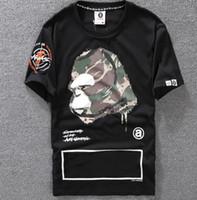 t-shirt druckgröße großhandel-Casual T-Shirt Herren Bekleidung Designer Shirt Schwarz Weiß Orange Größe S-XXL Baumwollmischung Rundhalsausschnitt Kurzarm Cartoon Print
