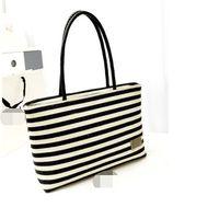 Wholesale women stylish handbag wholesale - 2016 New European and American Stylish Women Black&White Stripe Canvas Bag Vintage Fashion All-Match Handbag bolsa Dropshipping