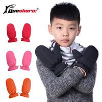 мальчики белые перчатки оптовых-Зимние детские теплые лыжные перчатки 100% White Duck Down детские мальчики для девочек Спортивные варежки Водонепроницаемые толстые флисовые перчатки для сноуборда
