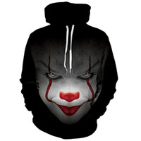 Wholesale Clown Music - 2017 New movie IT Pennywise Clown Stephen King 1990 2017 Horror Movie Hoodie Sweatshirt COSPLAY Sportswear Tracksuit