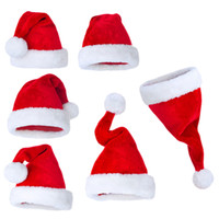 Wholesale plush costumes for adults - Christmas Santa Claus Hats Red And White Cap Party Hats For Plush Costume Xmas Caps Decoration for kids adult Christmas Hat