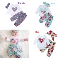 Wholesale 3pcs clothes for sale - Newborn Baby Girls Floral Romper Pants Headband Outfits Set Clothes Colors Flower Heart Kid Girl Boutique Clothing Toddler M