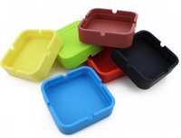 Wholesale square melamine - 100pcs Home & Garden Household Square Silicone Ashtrays Eco-Friendly Pocket Shatterproof Cigar Astray Rubber Silicone Ashtray