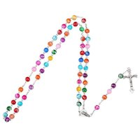 Wholesale Mary Gifts - 2018 Colorful Polymer Clay Bead Rosary Pendant Necklace Alloy Cross Virgin Mary Centrepieces Christian Catholic Religious Jewelry
