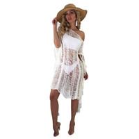 vestidos de moda bohemia al por mayor-2018 Vestidos de verano Smock Overol Playa Bohemia perspectiva Dama moda Mujer Vendaje bodycon Casual Mini vestidos atractivos
