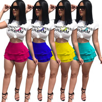 Wholesale animal print yoga pants - Unicorn Dream Letter Women Summer Shorts tshirts Sports Suits Animal Print Tees Tops Ruffle Short Pants Two Piece Sets Trendy Sexy Outfits