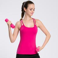 женские жилеты для похудения оптовых-Sports Vests for Women Sling Running Yoga Fitness Quick Drying Female Shirt Slim Fit Built-in Chest Pad Summer
