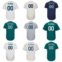 Wholesale Randy Custom - Mens Seattle Jersey Customized Green White Navy Grey Custom Baseball Jersey Ken Griffey Jr. Randy Johnson Robinson Cano Jean Segura Jersey