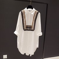 Wholesale Womens Collared Blouse - Womens Tops and Blouses Plus Size White Blouse Turn Down Collar Long Sleeve Embroidery Casual Women Tops