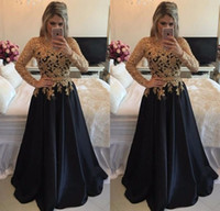 Wholesale Plus Size Prom Dresses Online - Sexy Gold And Blakc Long Sleeve Lace Prom Dresses Jewel A-Line Floor Length Sash Satin Prom Dress Formal Women Evening Party Gowns Online