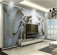 Wholesale modern people art painting resale online - European Embossed d Angel People Wall Mural Photo Wallpaper for Bedroom Wall Art Decor Painting Murals Custom Size