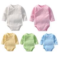 ingrosso baby jumpsuits bianchi all'ingrosso-neonato piccolo bambino Ropmers toddle un pezzo tute bianche infantili sicuro colthes Classe A 100% cotone 1M-12M all'ingrosso