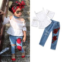 Wholesale wholesale jeans pants - Baby Girls Clothes Summer White Tops +Rose Pattern Jeans Pants Outfits 2 PCS Girl Clothes Set 5