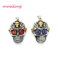 Wholesale Mens Stainless Steel Skull Pendants - Pendants Necklace Chain Stainless Steel Skull Mask Mens Jewelry Mascot Totem Charms Healing Chakra Amulet Fashion Accessories
