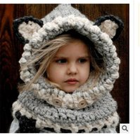 вязать шею ребенка шляпу оптовых-Baby Hat And Scarf Joint With Animal Style Crochet Knied Caps for Infant Boys Girls Children New Fashion Kids Neck Warmer