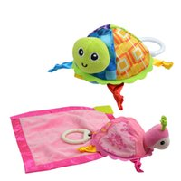 Wholesale Cute Turtle Plush - Lovely Turtle Plush Toys Baby Rattle Plaything Little Cute Turtle Plush Infant Appease Towels Doll DDA39