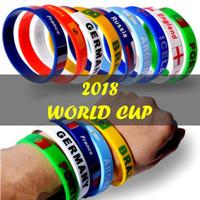 pulseras del equipo al por mayor-Copa del Mundo Pulsera de Silicona Bandera de País Unisex Pulsera Deportiva Fútbol Equipo de Fútbol Fans Animando Regalo