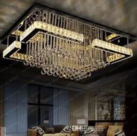 kaliteli modern kristal avizeler toptan satış-Yüksek kalite modern LED avize kristal lamba dikdörtgen avize işık cilası salon ışıkları ücretsiz kargo LLFA