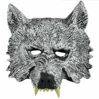 маски для лица для детей оптовых-Fun Animal Full Face Wolf Masks for Kids Adult Halloween Masquerade Party Masks Costume Wolves Ball