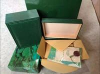 наручные часы оптовых-Бесплатная доставка деревянные Watchs коробки мужчины подарочная коробка зеленый деревянные ROLEXES оригинальные часы Box кожа мода Watches Box буклет карты