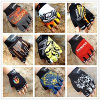 Wholesale breathable fitness gloves resale online - Man Cycling Gloves Fashion Wolves Letters Breathable Bike Sport Half Finger Glove Bicycle Shockproof Fitness Accessories hy Ww