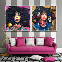 Wholesale Beautiful African Girls Modern Abstract Works Wall Artworks Pictures Canvas Painting for Living Home Dinning Room Home Decor No Frame