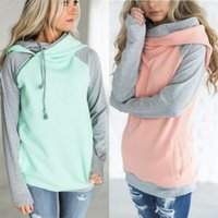 Wholesale Double Hoodie Woman - Double Color Zipper Stitching Hoodies Women Long Sleeve Patchwork Pullover Winter Women Jacket Sweatshirts Jumper Tops White Pink Size S-2XL