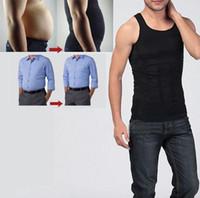 ingrosso uomini di compressione nera-2018 Men's Compression Vest Shirt Underwear Body Shaper sexy pancia dimagrante Fatty termica uomo corsetto taglia S nero