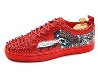 Wholesale chiffon b - Fashion men designer sequins rivets print casual design Shoes 2018 men flats chiffon dress loafers footwear Mens Wedding Shoes AXX855
