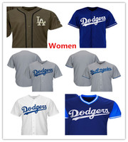 Wholesale women red service - Womens Dodgers Team Jerseys Blank Baseball Jerseys No Name No Number White Grey Gray Blue Salute To Service Players Weekend