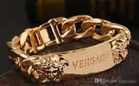 Wholesale sterling silver bracelet ends resale online - Newest gold color Bracelets Big brand style charm bracelet Medusa double head bracelet high quality plating color high end