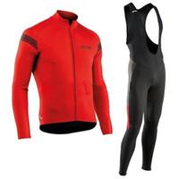 jersey rojo de manga larga al por mayor-Ropa Ciclismo NW Hombre Rojo verde Ciclismo Jersey Anti UV 9D gel pad babero conjunto MTB Bicicleta Ropa de manga larga Ciclismo