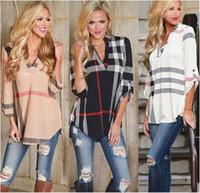 Wholesale Ladies Three Quarter Sleeve Blouses - Fashion Plaid Raglan Shirt Women Summer Autumn Blouse T-shirt V-neck Three Quarter Sleeve Tees Shirts Ladies Tops Pullover Plus Size 2018