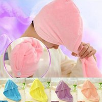 Wholesale hair drying towel hat resale online - Microfiber Magic Quick Dry Bath Hair Drying Towel Head Wrap Hat Makeup Cosmetics Cap Hair Towels Bathing Tool OOA5177